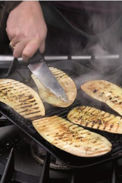 aubergines on griddle
